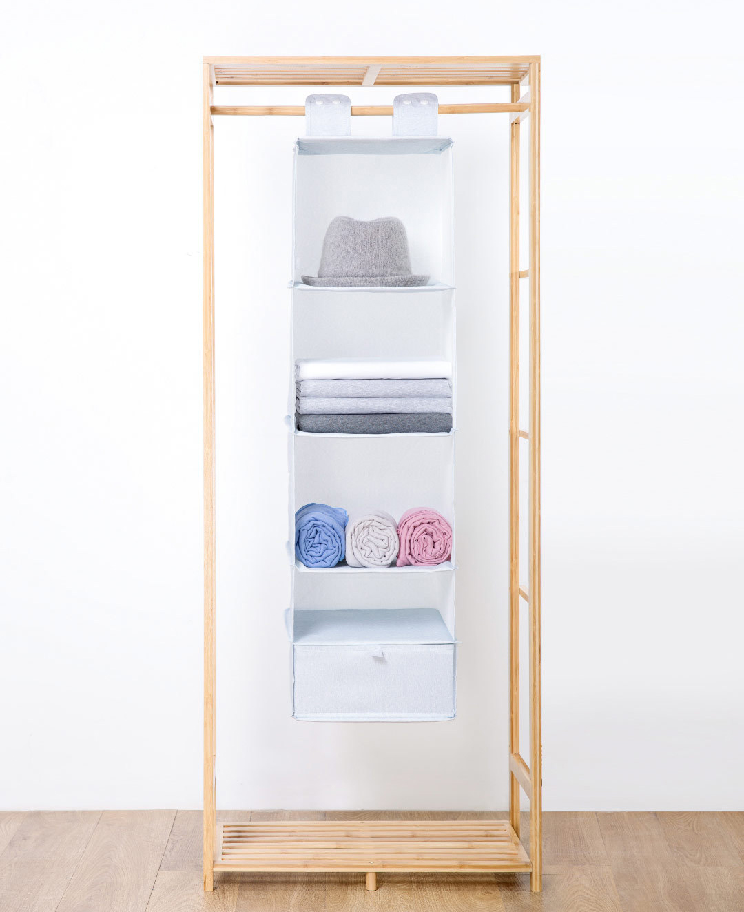 Nature Household 5 Compartment Hanging Fabric Storage Organizer Keeps Your Things Organised Several Layers