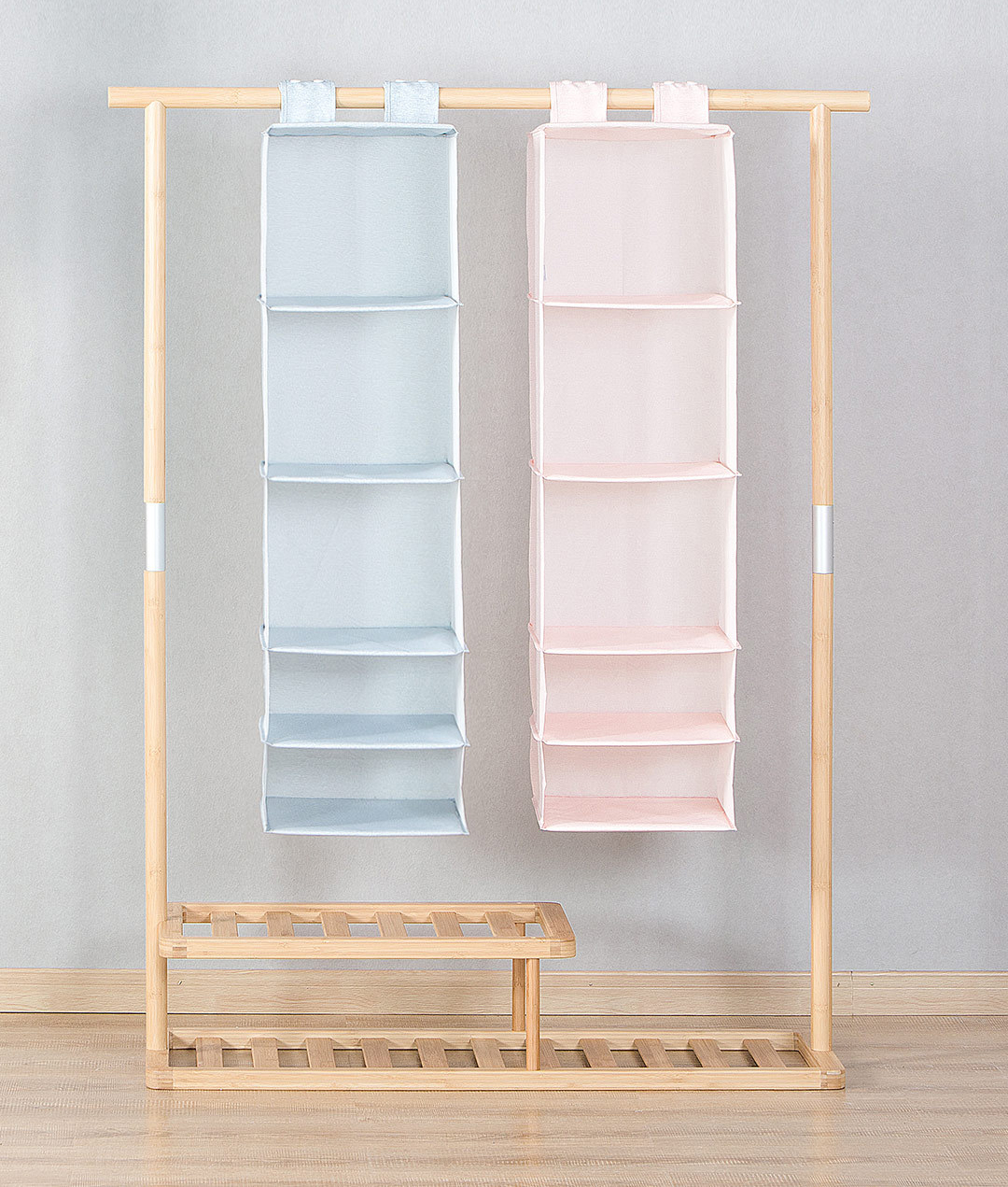Nature Household 5 Compartment Hanging Fabric Storage Organizer Keeps Your Things Organised Two Colors
